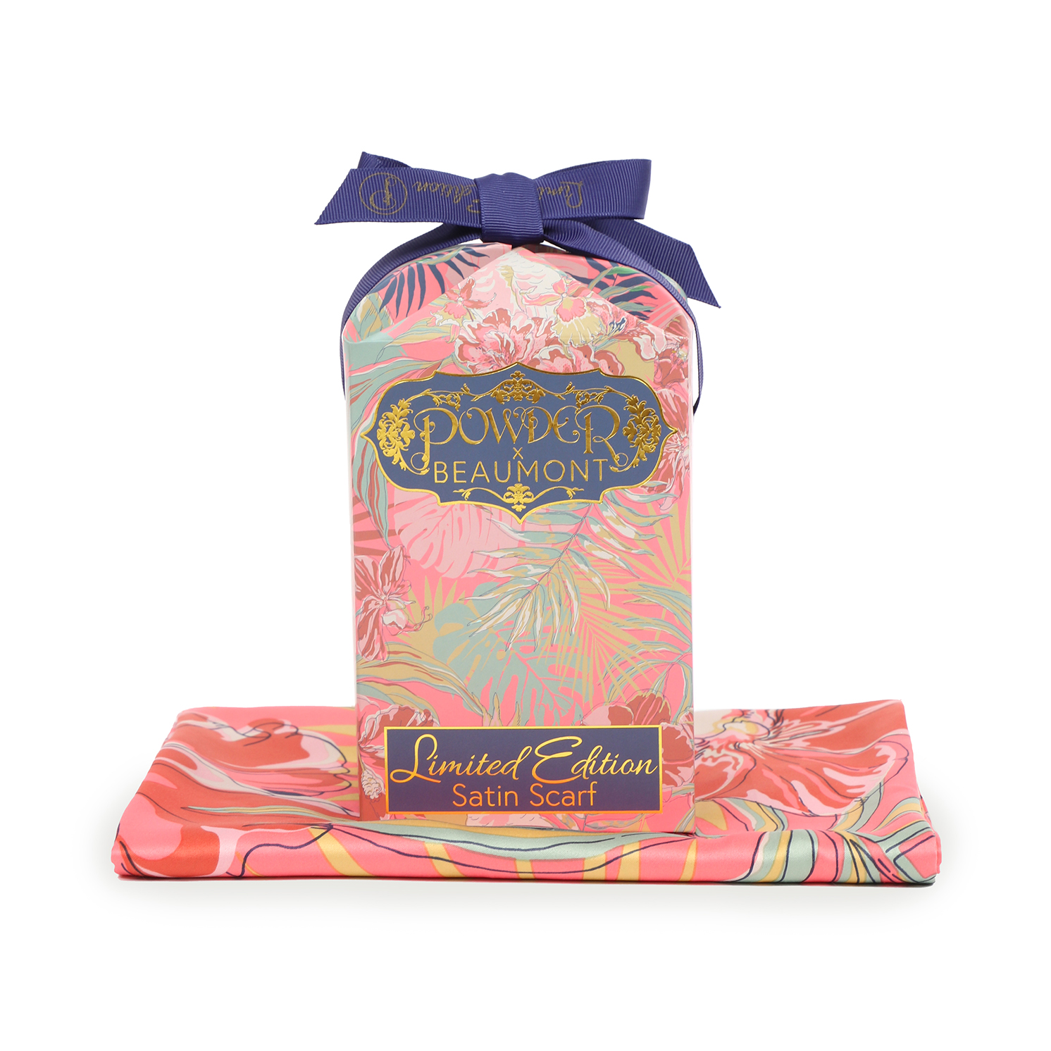 Powder – Coral Cockatoo Satin Neck Scarf with Powder Presentation Gift Bag