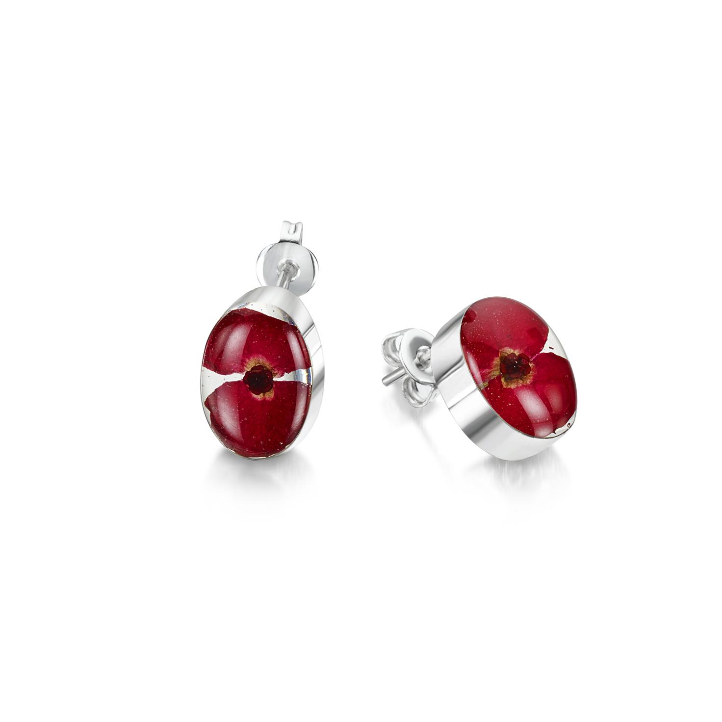 Shrieking Violet – Poppy Sterling Silver Oval Stud Earrings in Gift Box