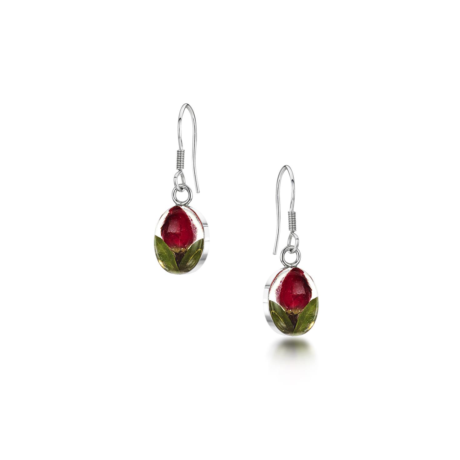 Shrieking Violet – Rose Bud Silver Oval Drop Earrings in Gift Box