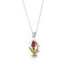 Shrieking Violet – Rose Bud Sterling Silver Teardrop Pendant Necklace in Box