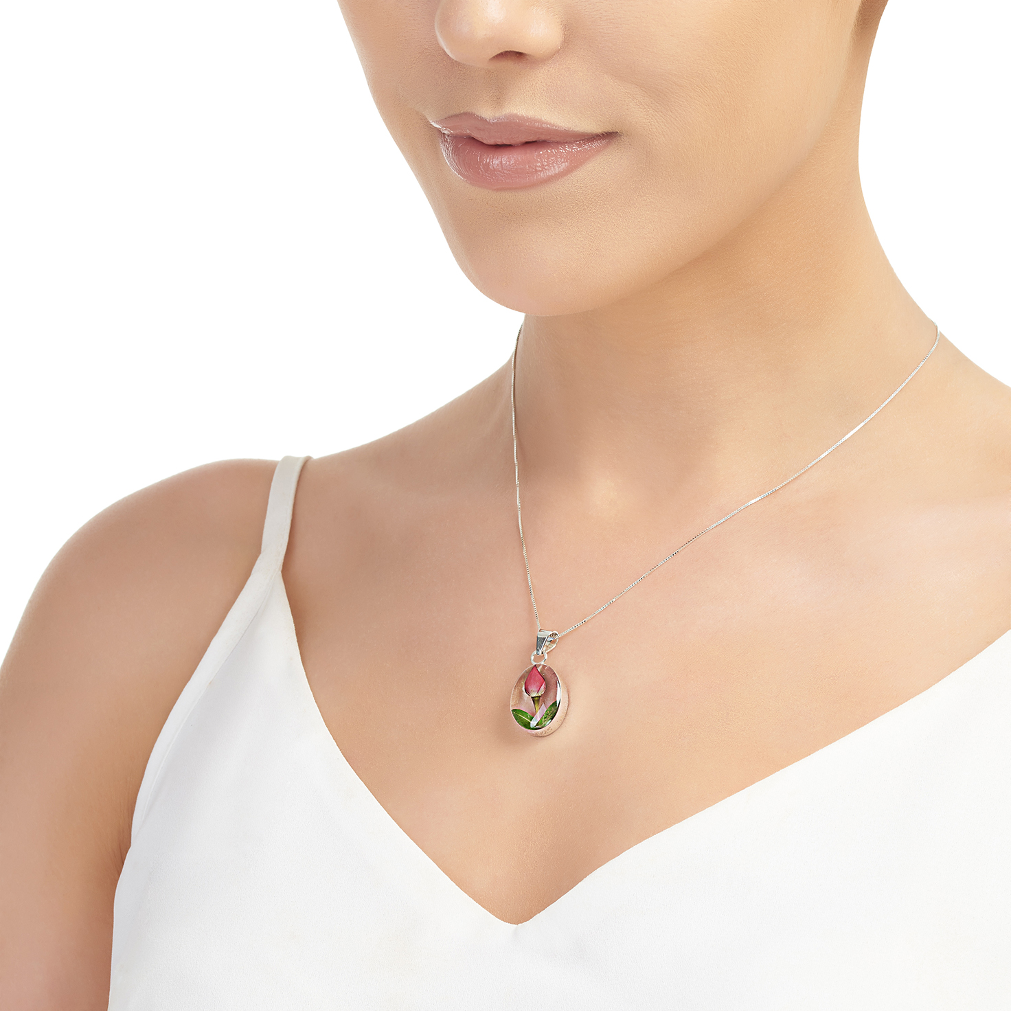 Shrieking Violet – Rose Bud Sterling Silver Oval Pendant Necklace in Box