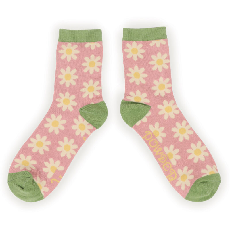 Powder – Pale Pink Daisy Ankle Socks with Presentation Gift Bag