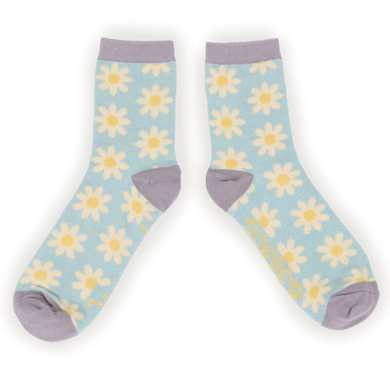 Powder – Ice Blue Daisy Ankle Socks with Presentation Gift Bag