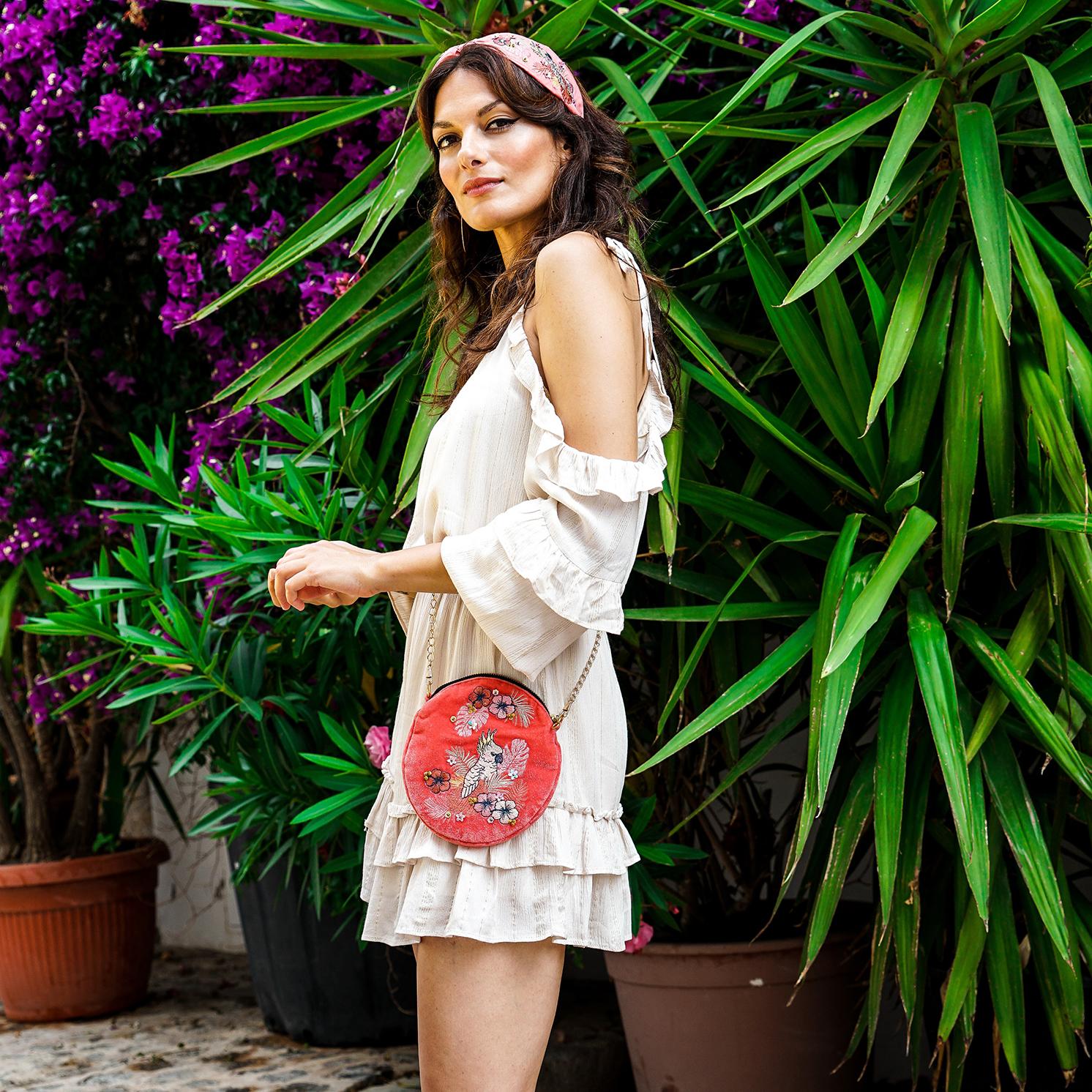 Powder – Coral Pink Cockatoo Velvet Embroidered Bag