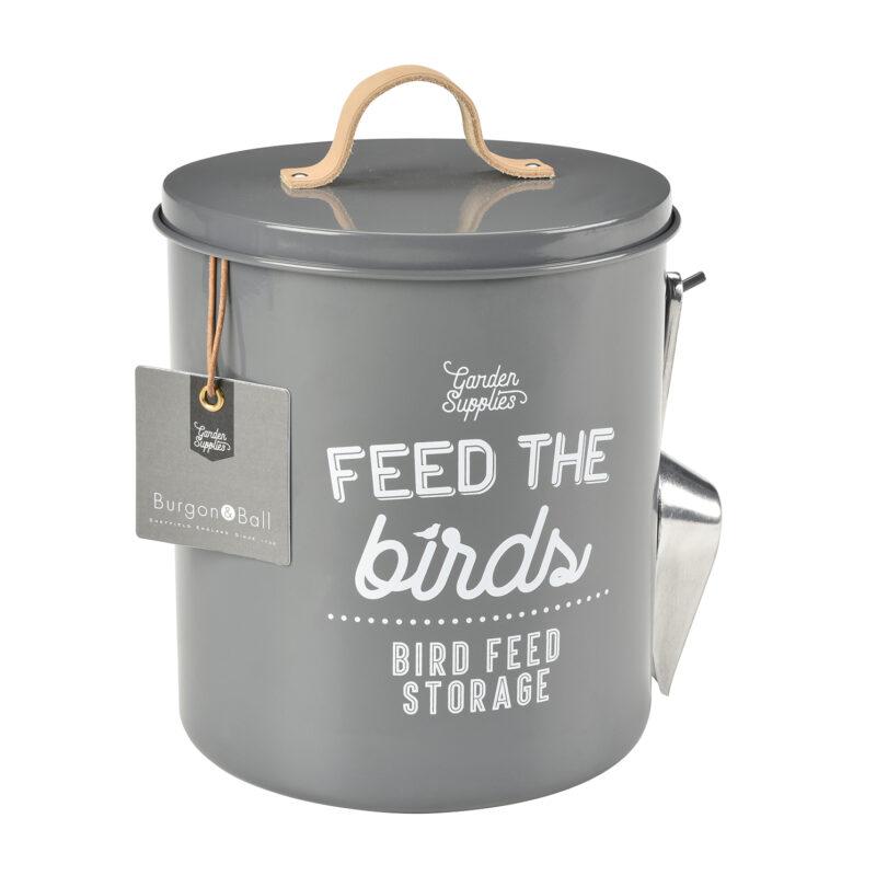 Burgon & Ball – Charcoal 'Feed the Birds' Bird Food Tin and Scoop