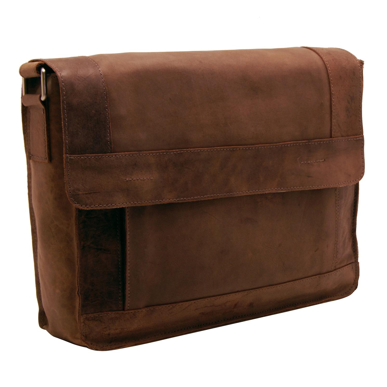 Edward Robertson – Tan Luke Messenger Bag in Buff Hunter Leather