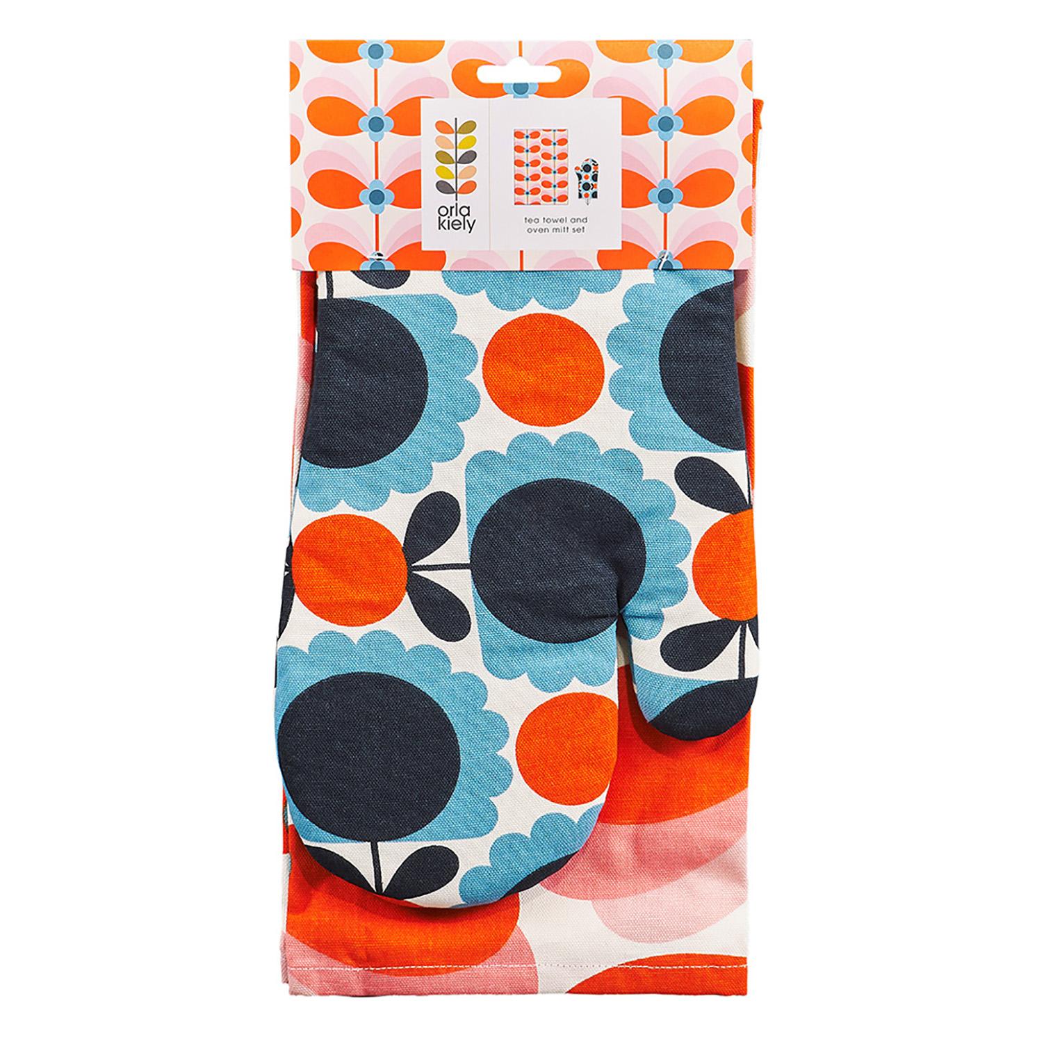 Orla Kiely – Butterfly Stem Tea Towel and Scallop Flower Oven Mitt Set
