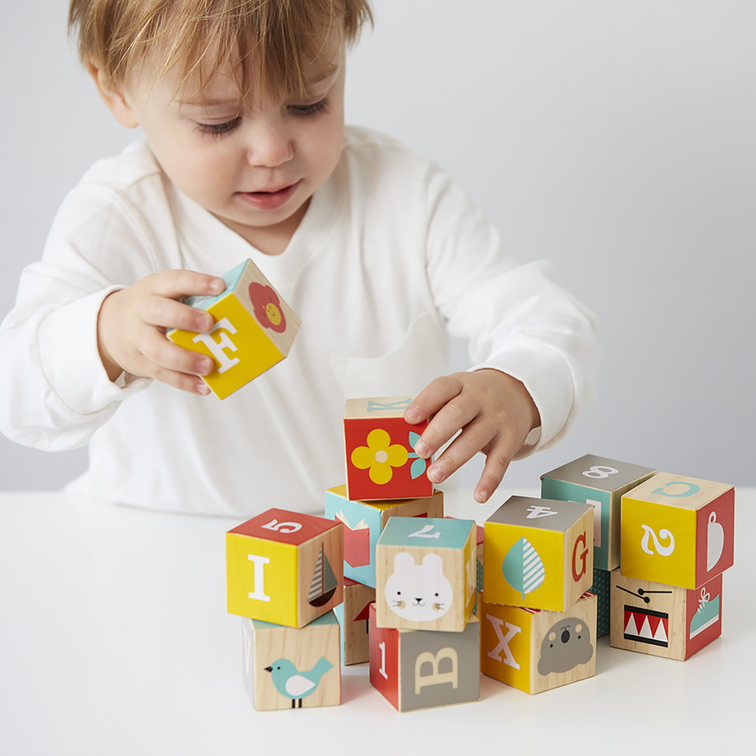 Petit Collage – ABC Wooden Play Blocks in Gift Box