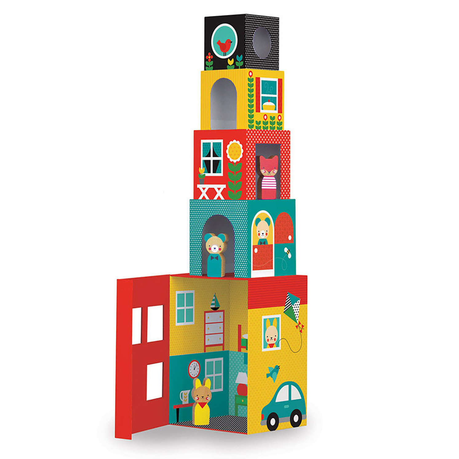 Petit Collage – Peek-A-Boo House Stacking Blocks Play Set