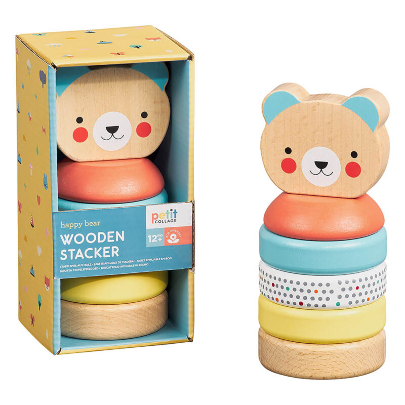 Petit Collage – Wooden Bear Stacker in Box