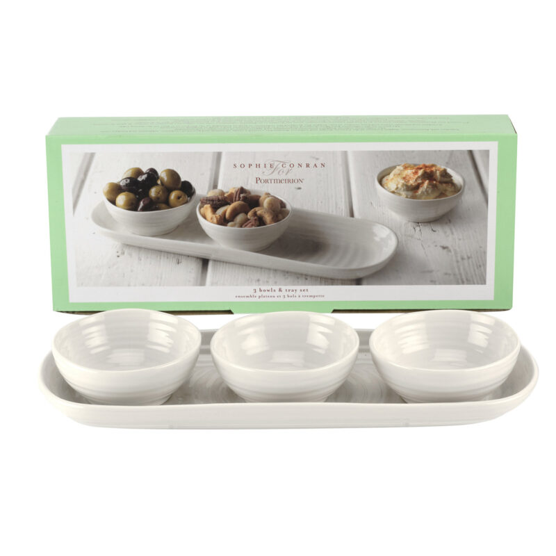 Sophie Conran for Portmeirion – 3 White Dips Bowls & Tray in Gift Box