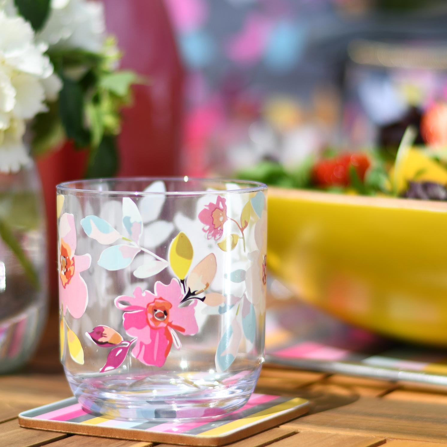 Navigate – Summerhouse Gardenia Decorated Pitcher & Set of 3 Matching Tumblers