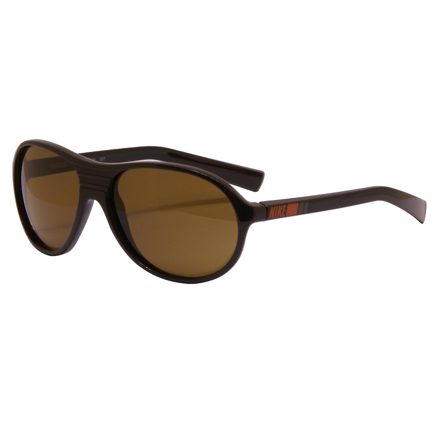 Nike – Vintage 74 Shiny Black Stripe Retro Classic Sunglasses with Vintage Case