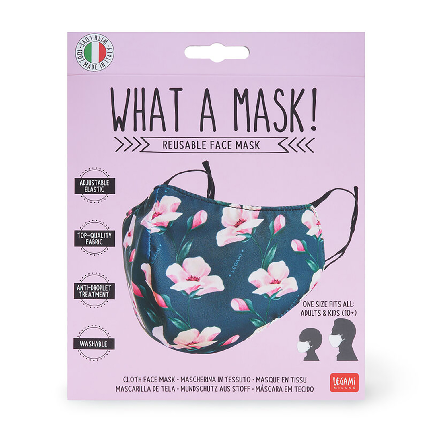 """Legami – What a Mask! """"Flowers"""" Reusable Face Mask & Flower Power Hand Gel"""