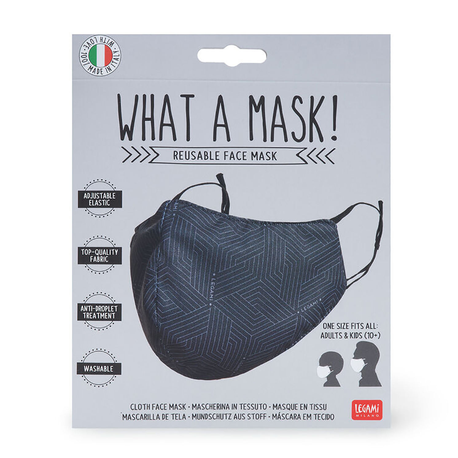 "Legami – What a Mask! ""Geometric"" Reusable Face Mask & Ocean Breeze Hand Gel"