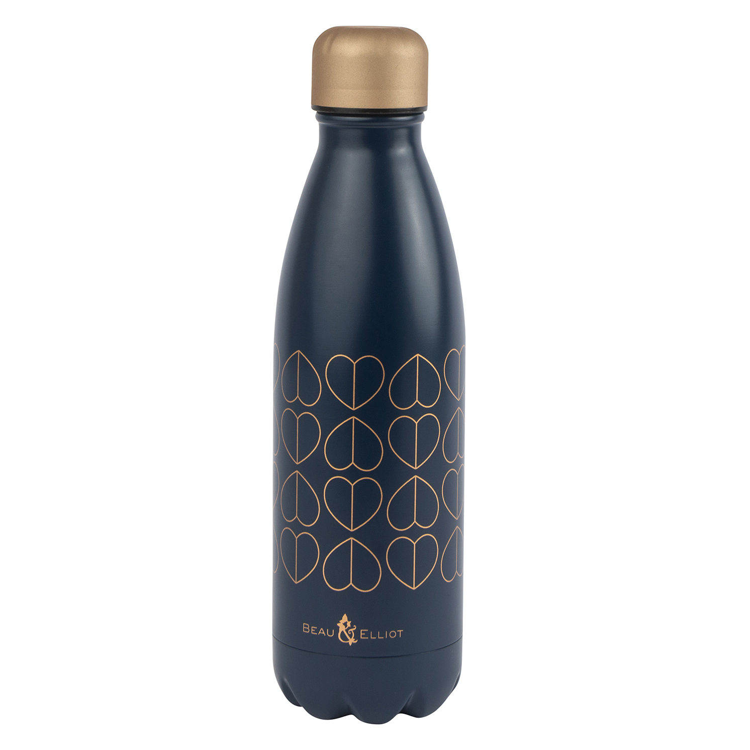 Beau & Elliot – Navy Blue Hearts Vacuum Insulated Stainless Steel Drinks Bottle
