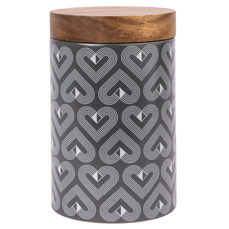 Beau & Elliot – Vibe Grey Slate Tall Ceramic Biscuit Jar with Wooden Lid