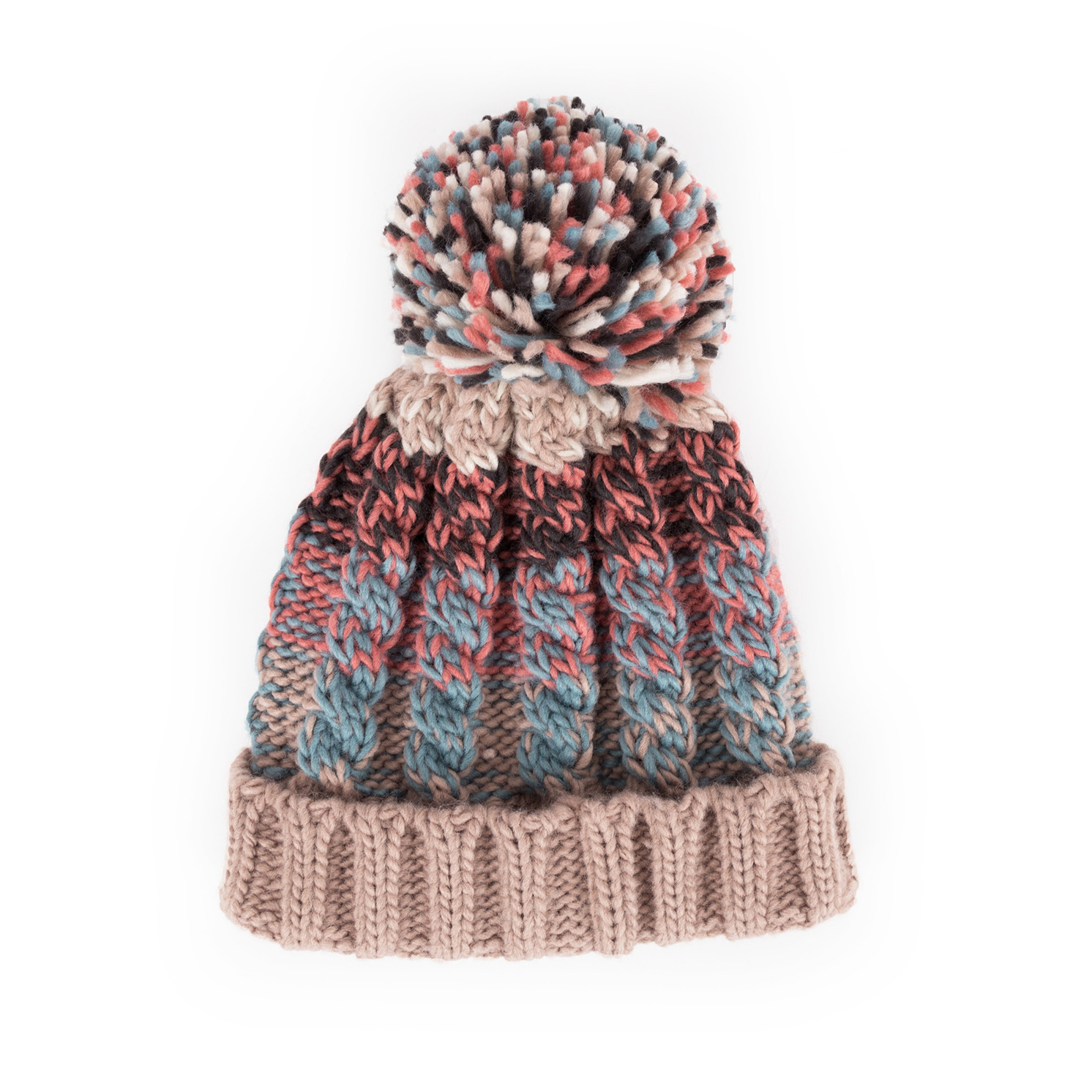 Powder – Astrid Teal Mix Knitted Pom Pom Hat with Powder Presentation Gift Bag