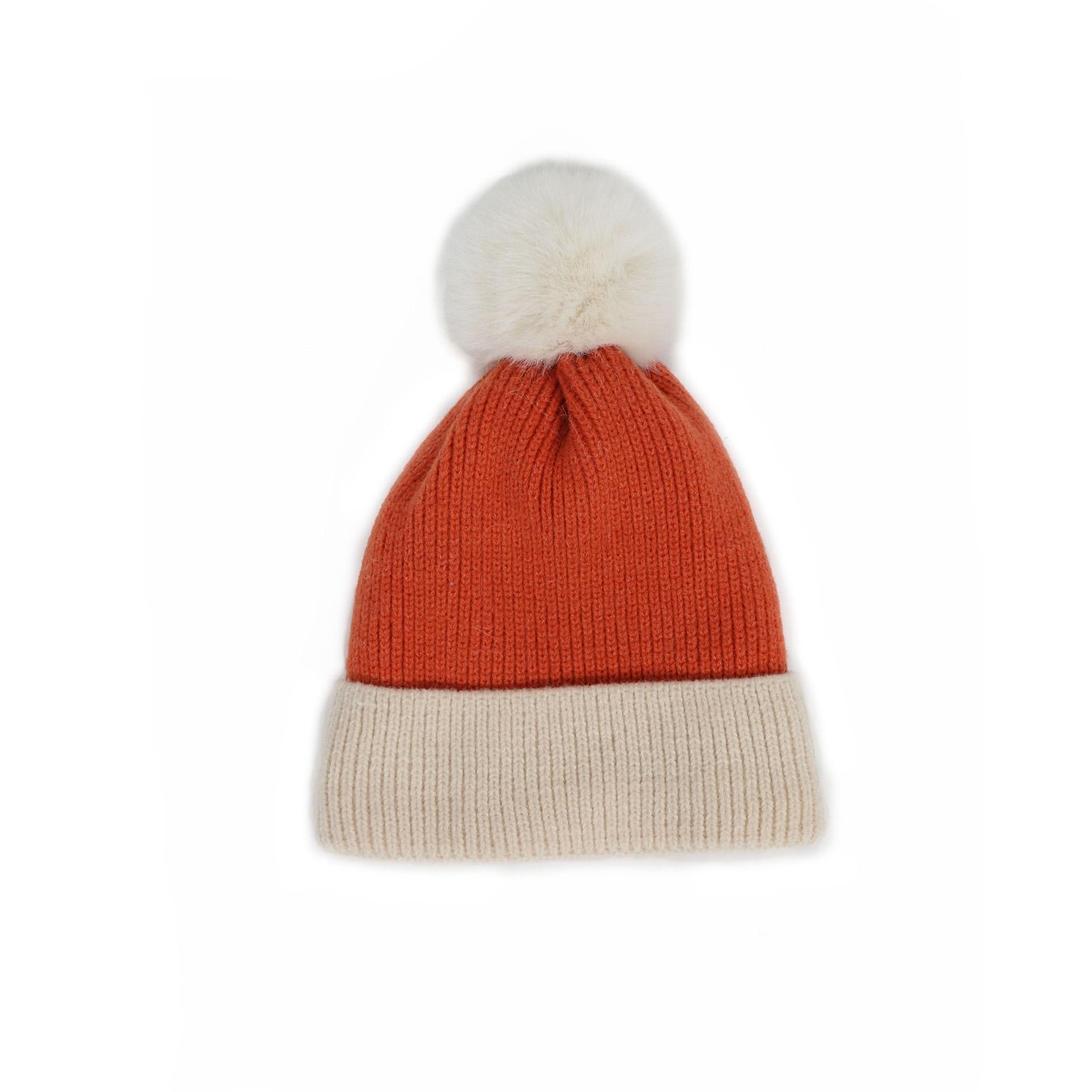 Powder – Bonnie Tangerine/Cream Pom Pom Hat with Powder Presentation Gift Bag