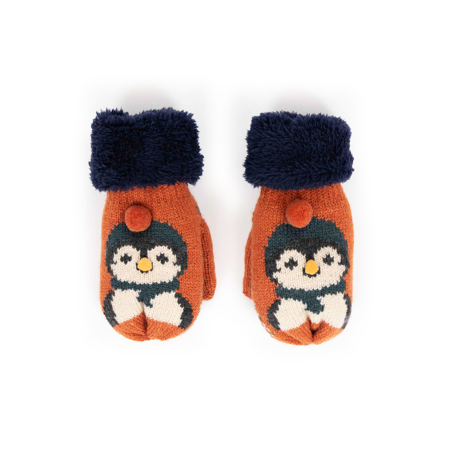 Powder – Kid's Cosy Penguin Mittens in Tangerine with Presentation Gift Box