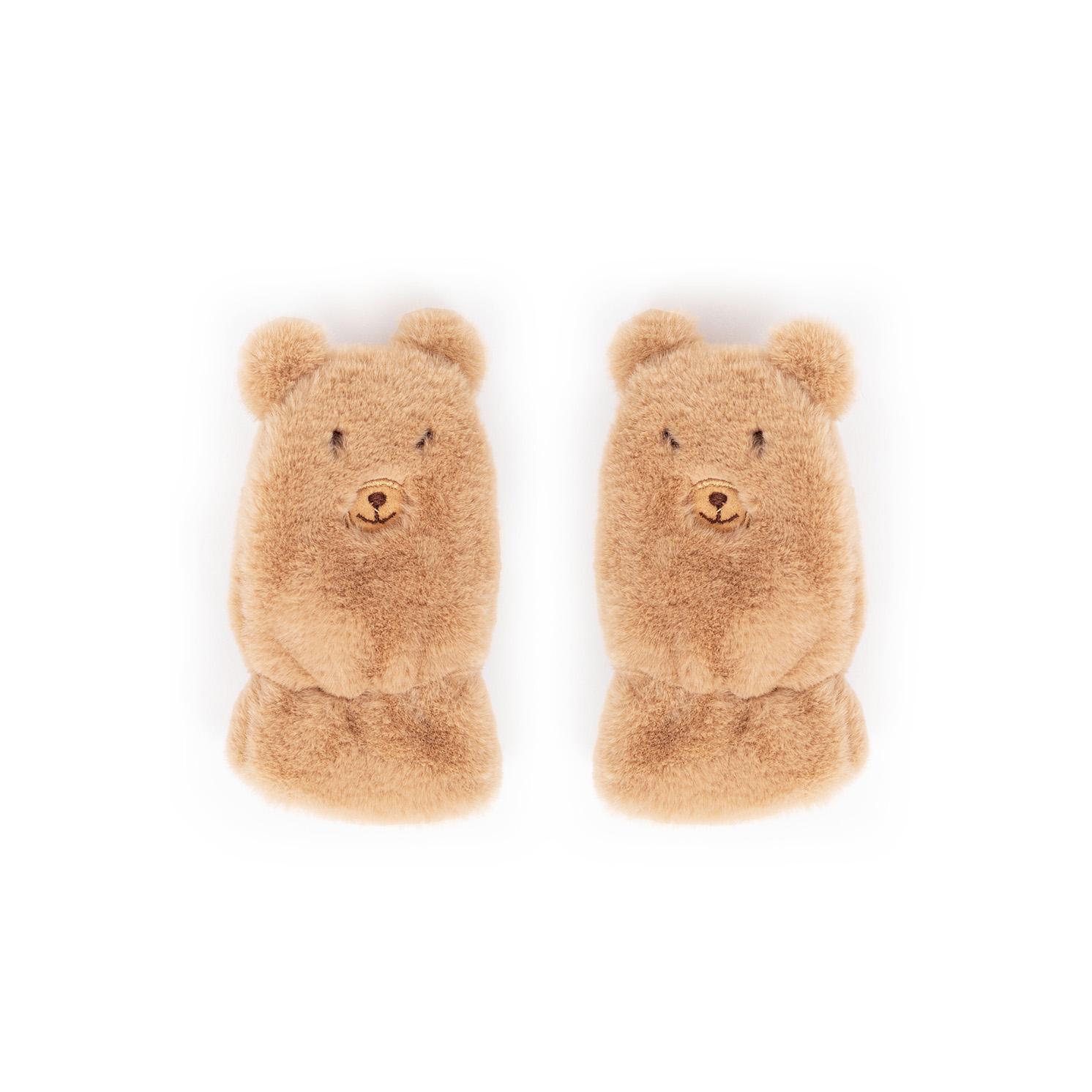 Powder – Kid's Fluffy Teddy Mittens in Tan with Powder Presentation Gift Box