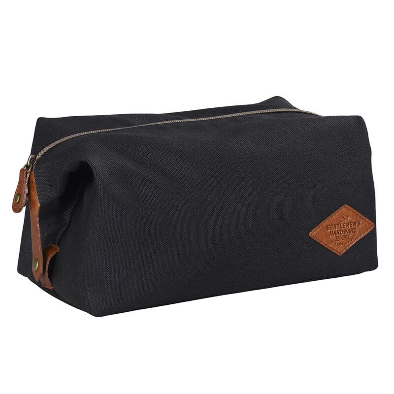 Gentlemen's Hardware – Black Waxed Canvas Wash Bag with Brown Trim