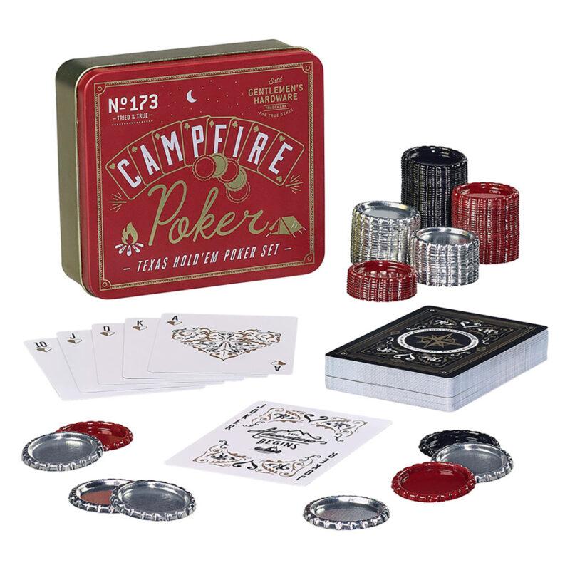 Gentlemen's Hardware – Campfire Texas Hold 'Em Poker Set in Metal Tin