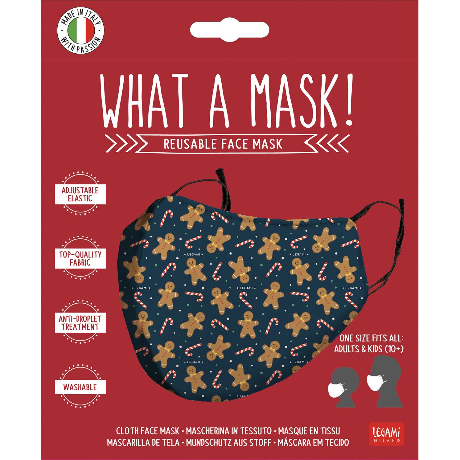 """Legami – What a Mask! """"Gingerbread Man"""" Limited Edition Reusable Face Mask"""