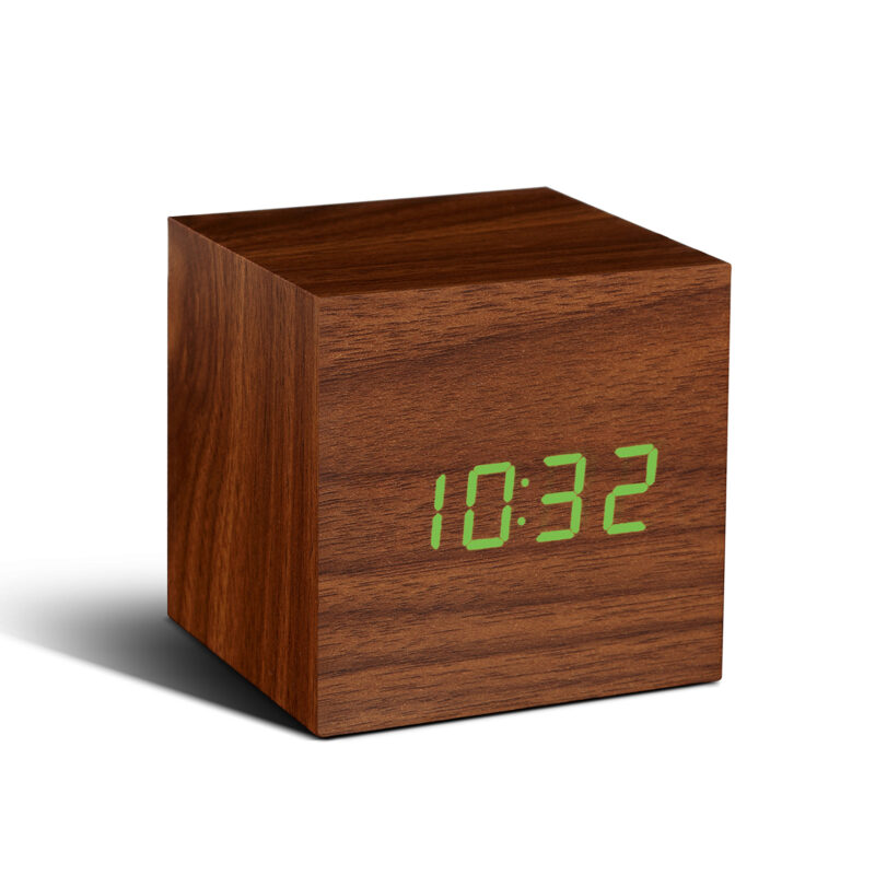 Gingko – Cube Walnut Click Clock with Green LED Display in Gift Box