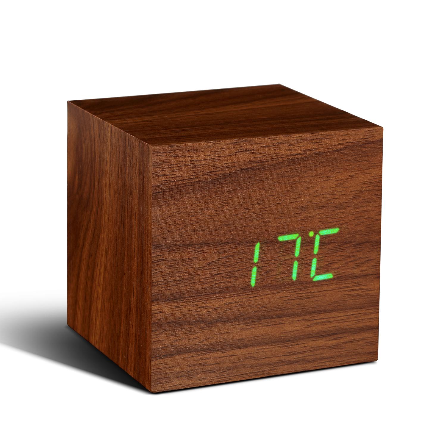 Gingko – Cube Walnut Click Clock with Green LED Display in Gift Box