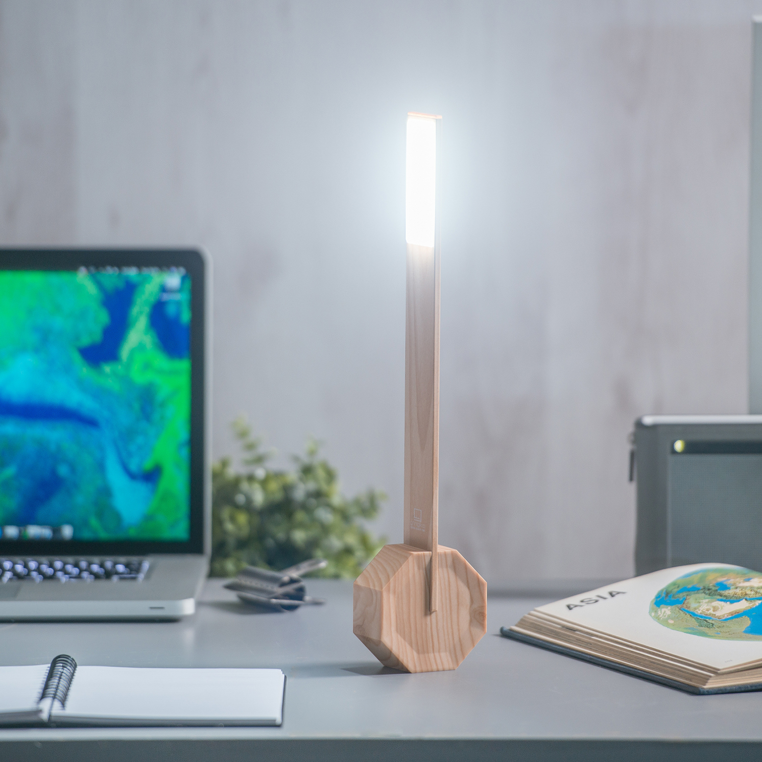 Gingko – Octagon One Desk Light/Lamp in Gift Box – Maple