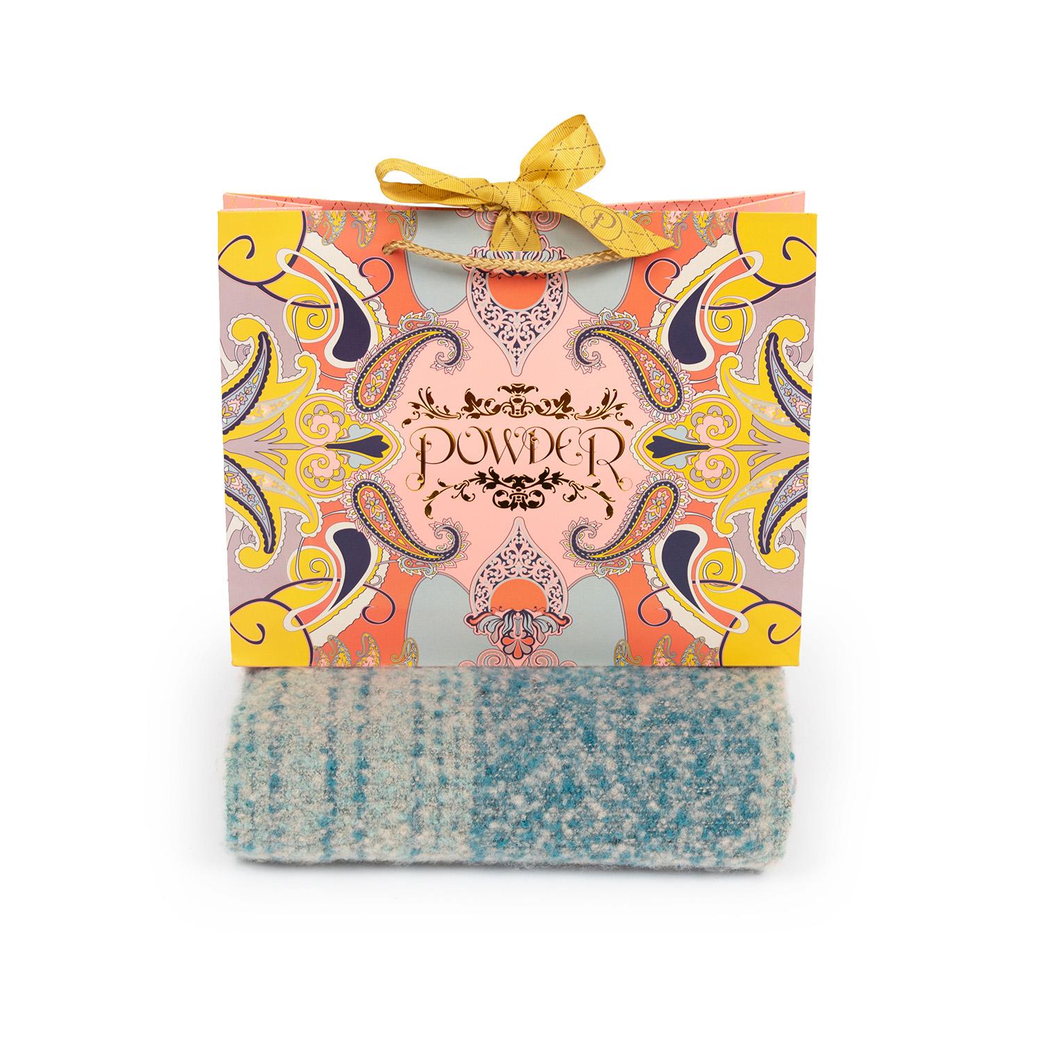 Powder – Teal Mix Maggie Scarf with Powder Presentation Gift Bag