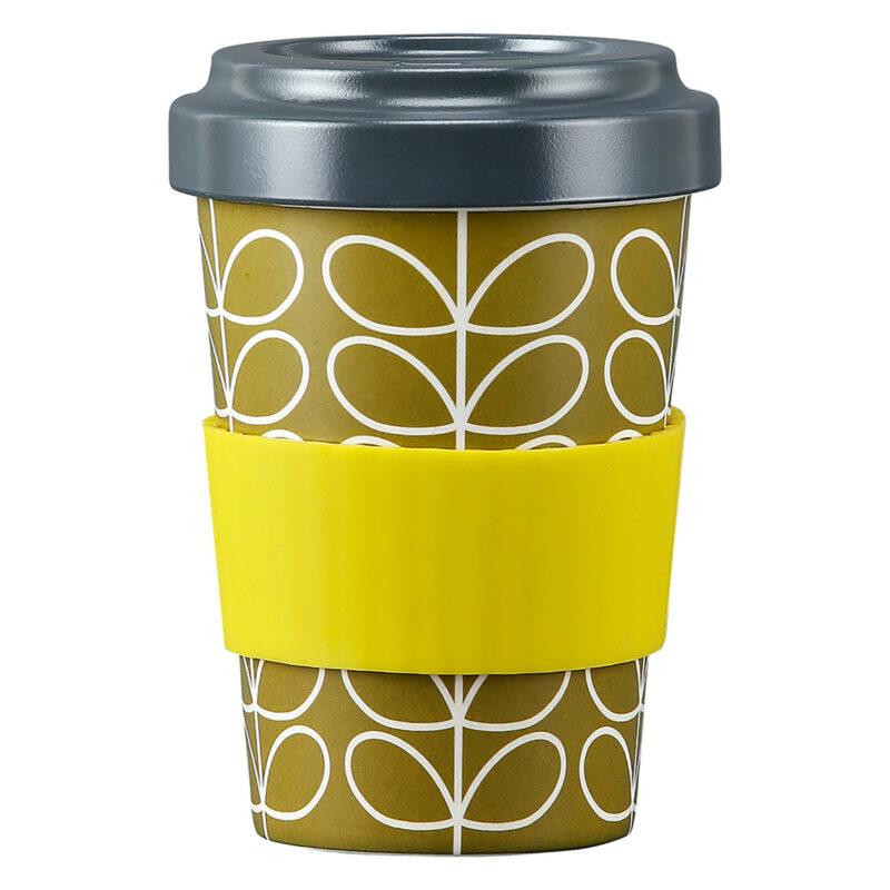 Orla Kiely – Linear Stem Dark Moss Bamboo Travel Cup/Tumbler