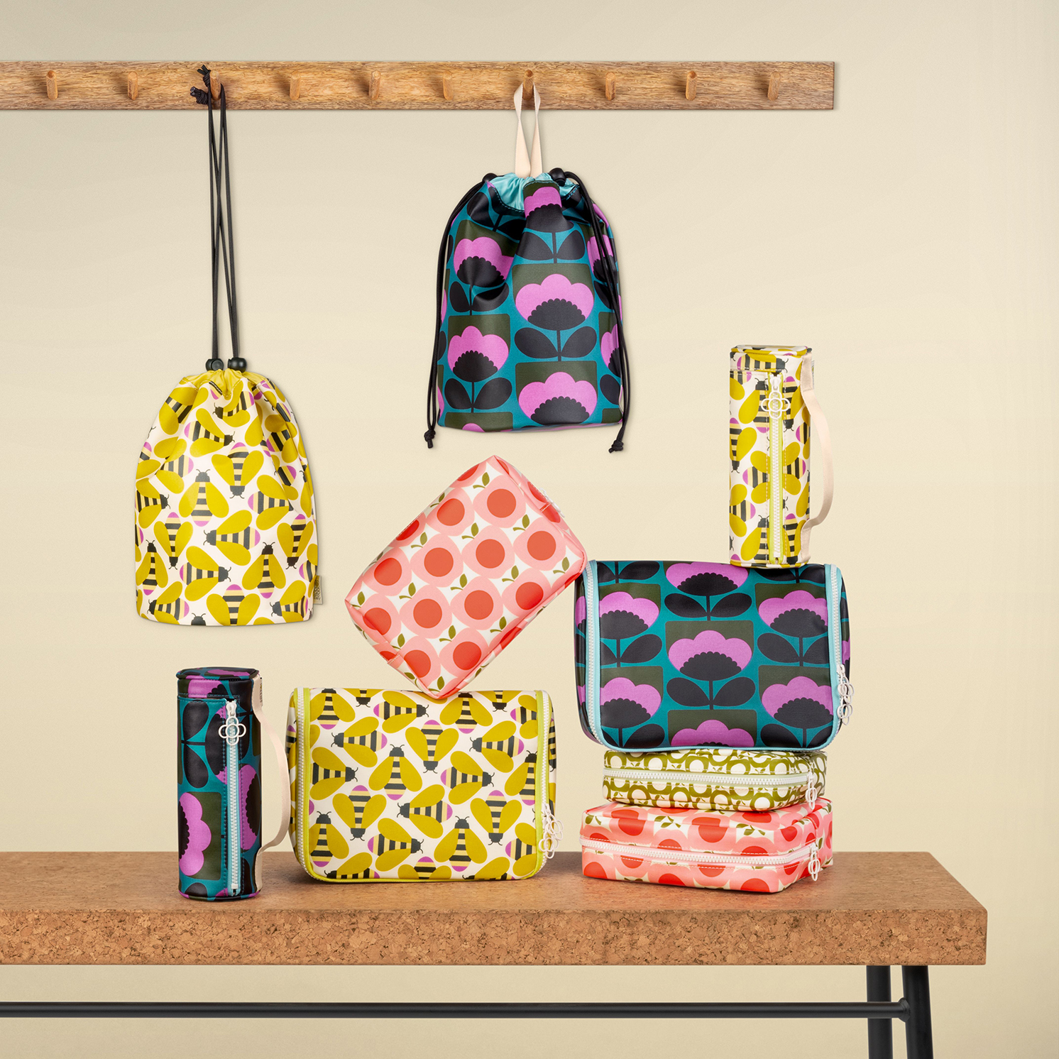 Orla Kiely – Busy Bee Collection Hanging Toiletry/Wash Bag