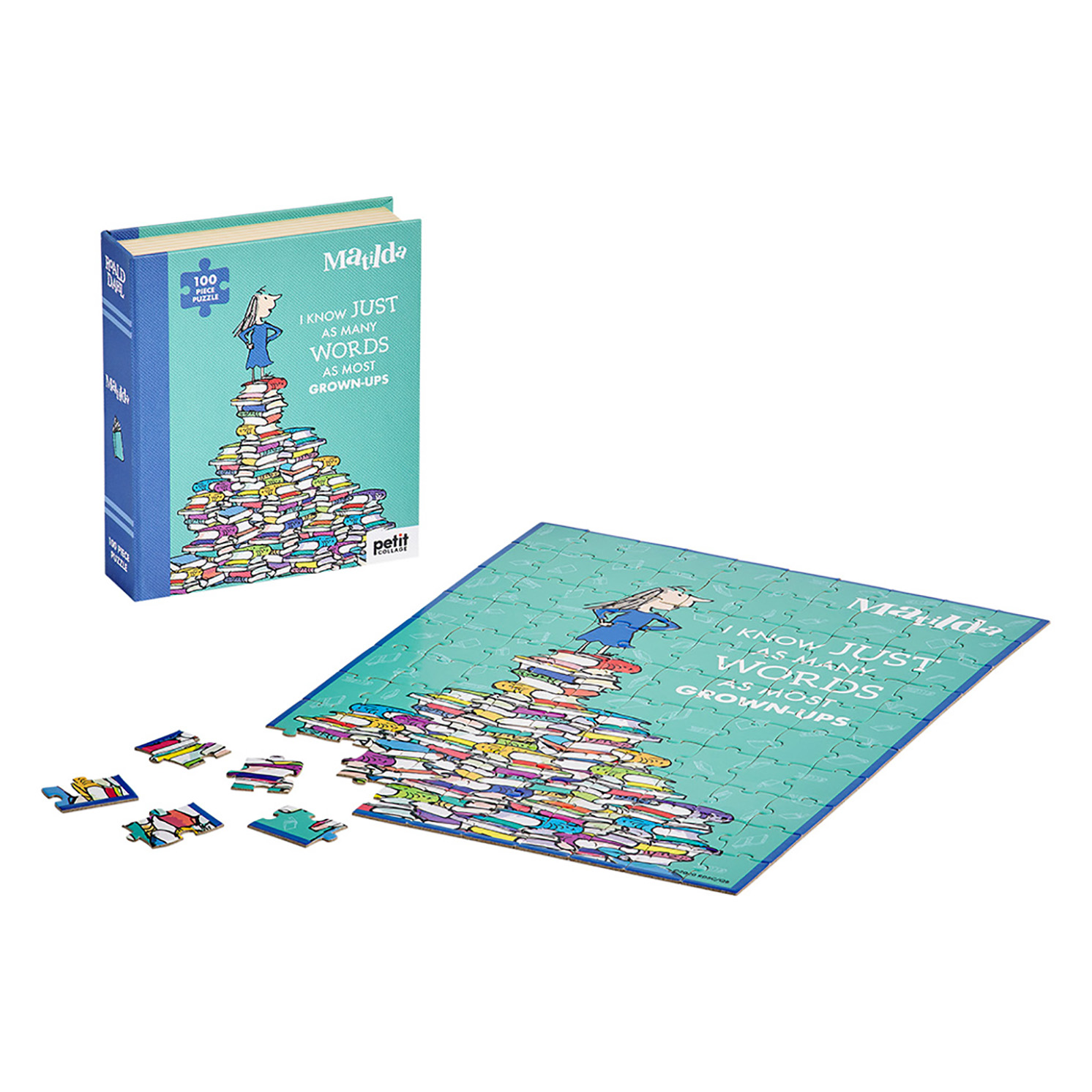 Petit Collage – Roald Dahl Matilda 100-Piece Book Puzzle in Box