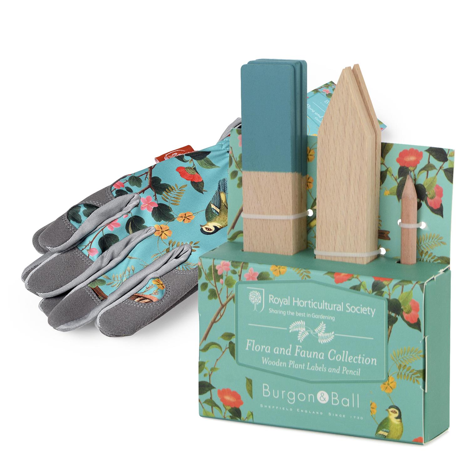 Burgon & Ball – RHS Flora & Fauna Gloves & RHS Flora & Fauna Wooden Plant Labels