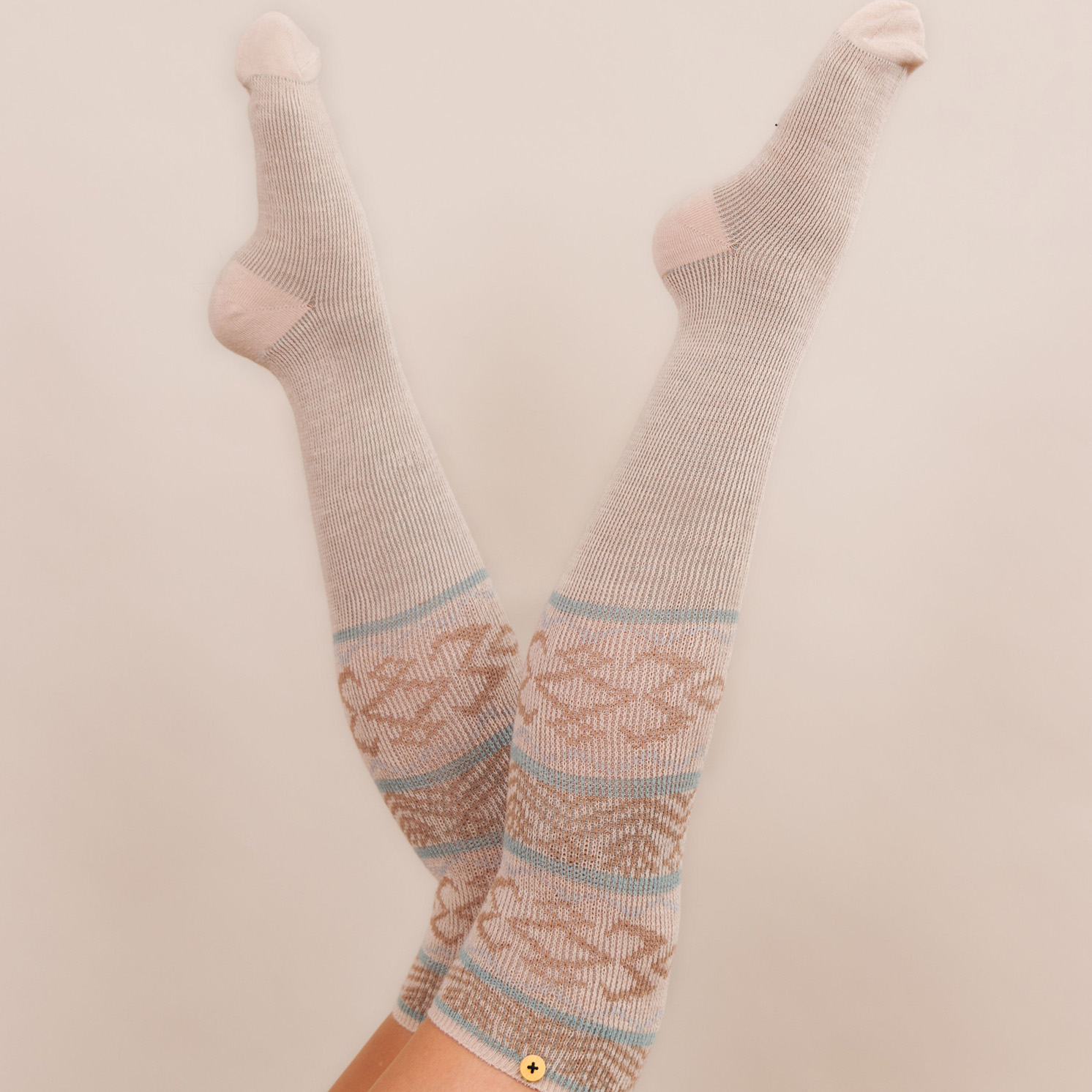 Powder – Cream Fair Isle Long Knee High Socks with Presentation Gift Bag