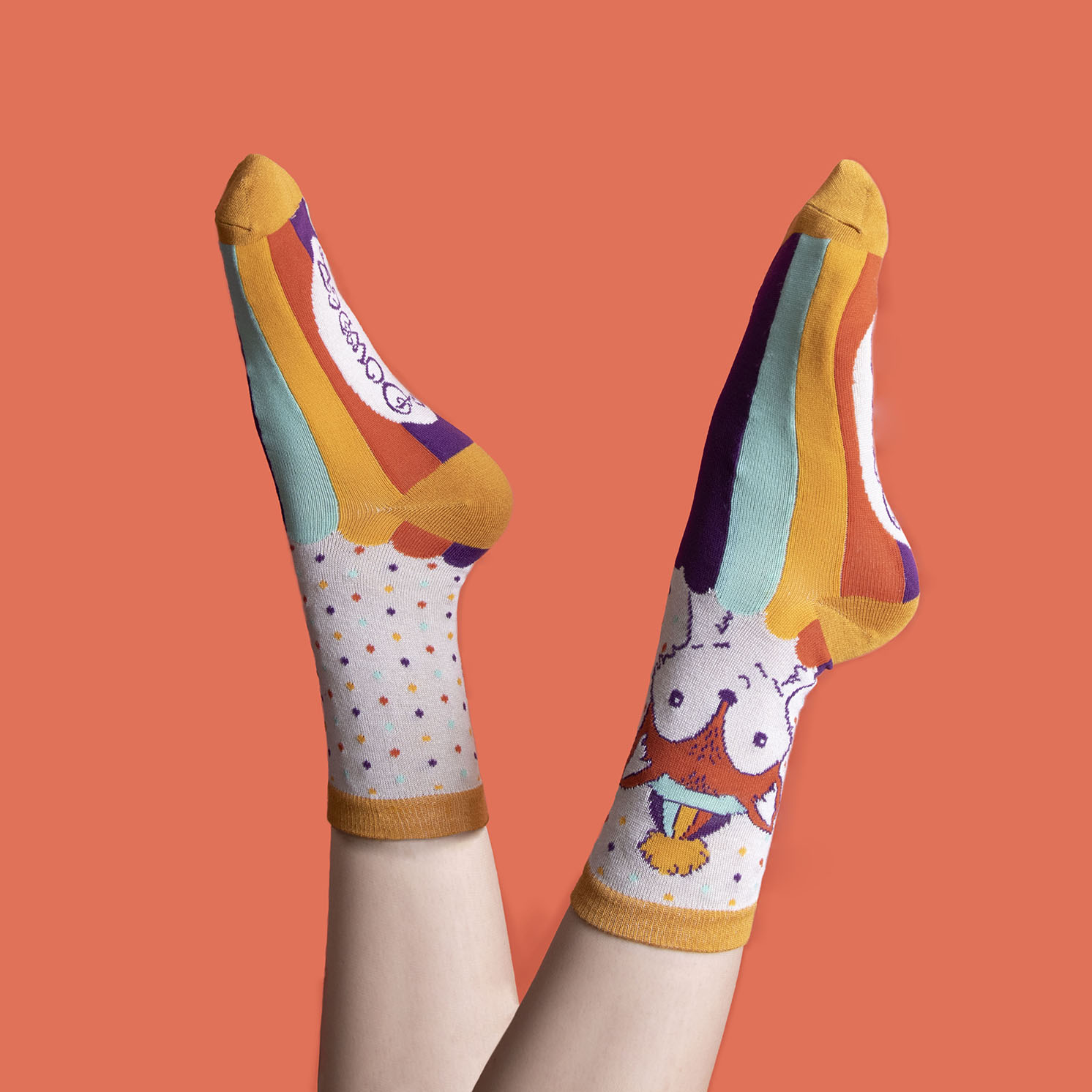 Powder – Cream Foxy Ankle Socks with Presentation Gift Bag