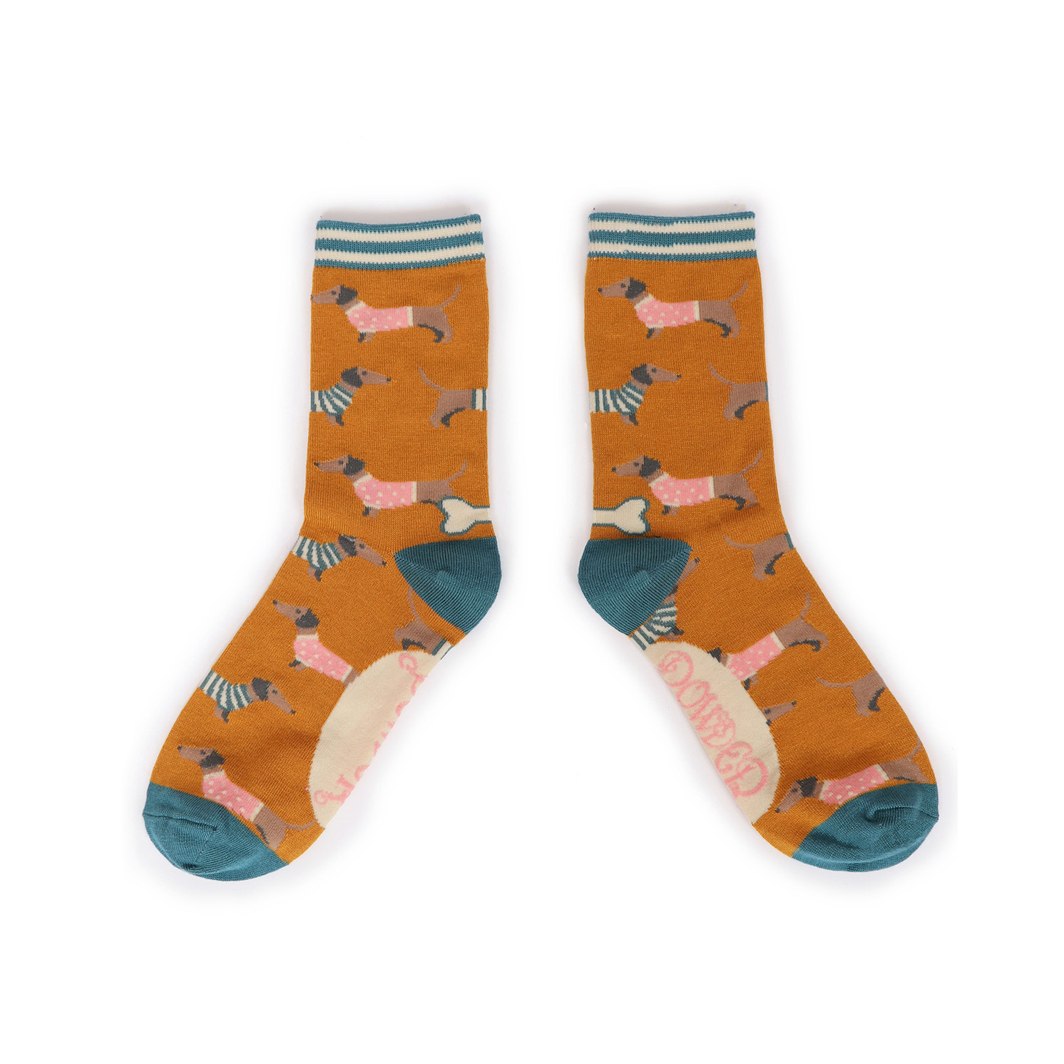 Powder – Mustard Jumper Sausage Dog Ankle Socks with Presentation Gift Bag