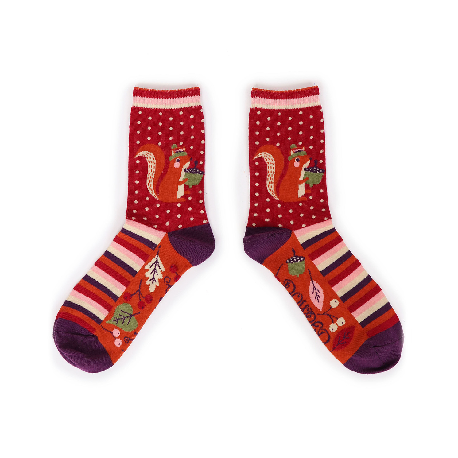 Powder – Fuchsia Pink Nutty Squirrel Ankle Socks with Presentation Gift Bag