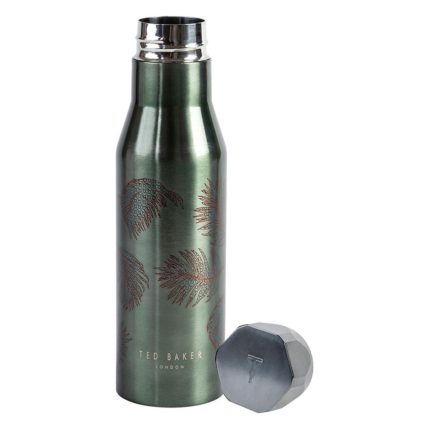 Ted Baker – Khaki & Palm Stainless Steel Hexagonal Lid Insulated Water Bottle