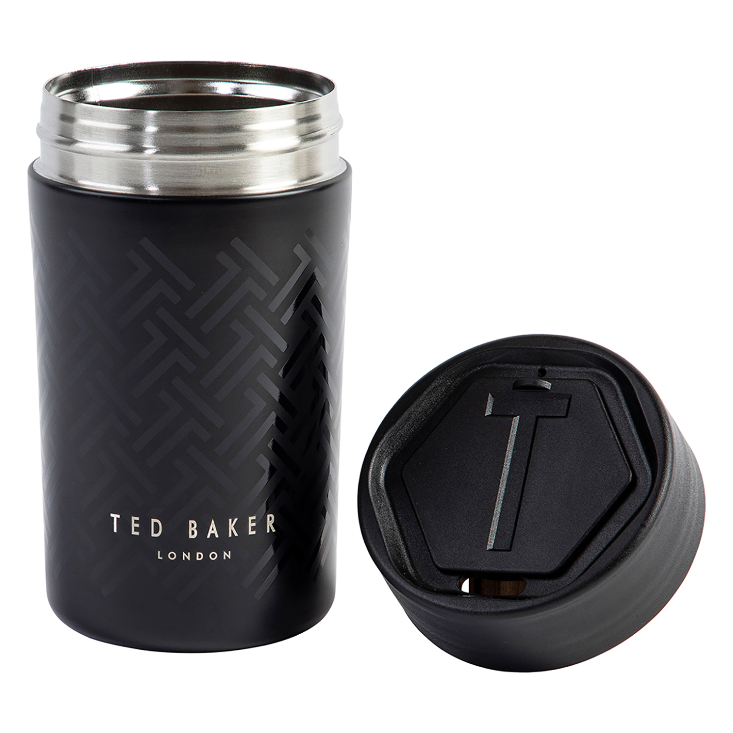 Ted Baker – Black Stainless Steel Insulated Travel Cup/Mug