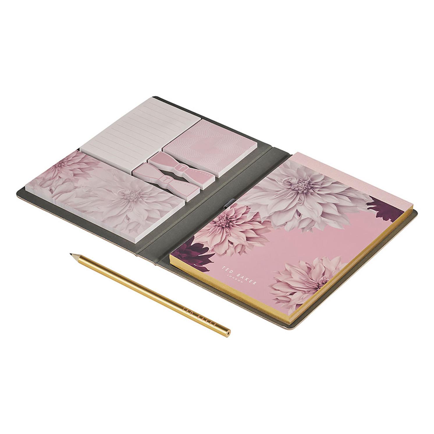 Ted Baker – Pink Clove A5 Hardback Printed Notebook, Pencil & Sticky Notes Set