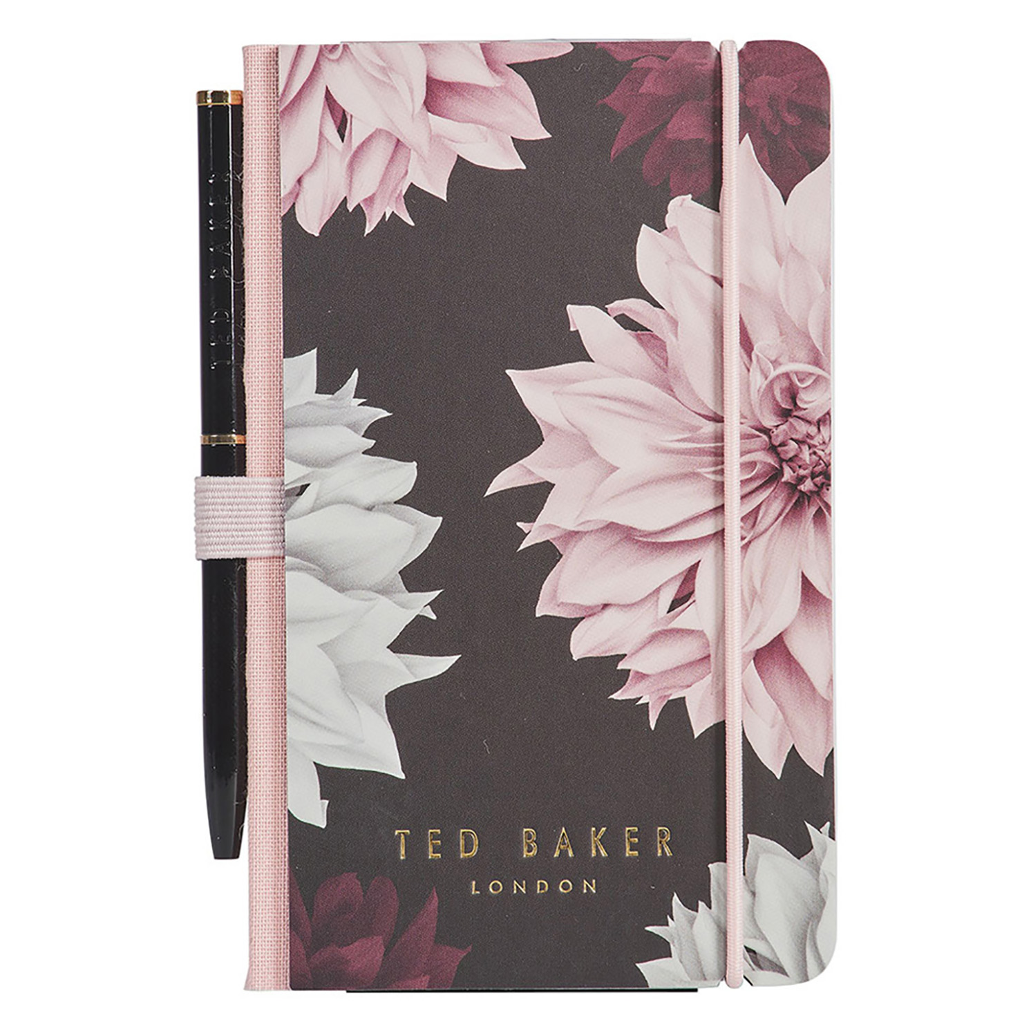Ted Baker – Black Clove print A7 Mini Notebook and Black Ballpoint Pen