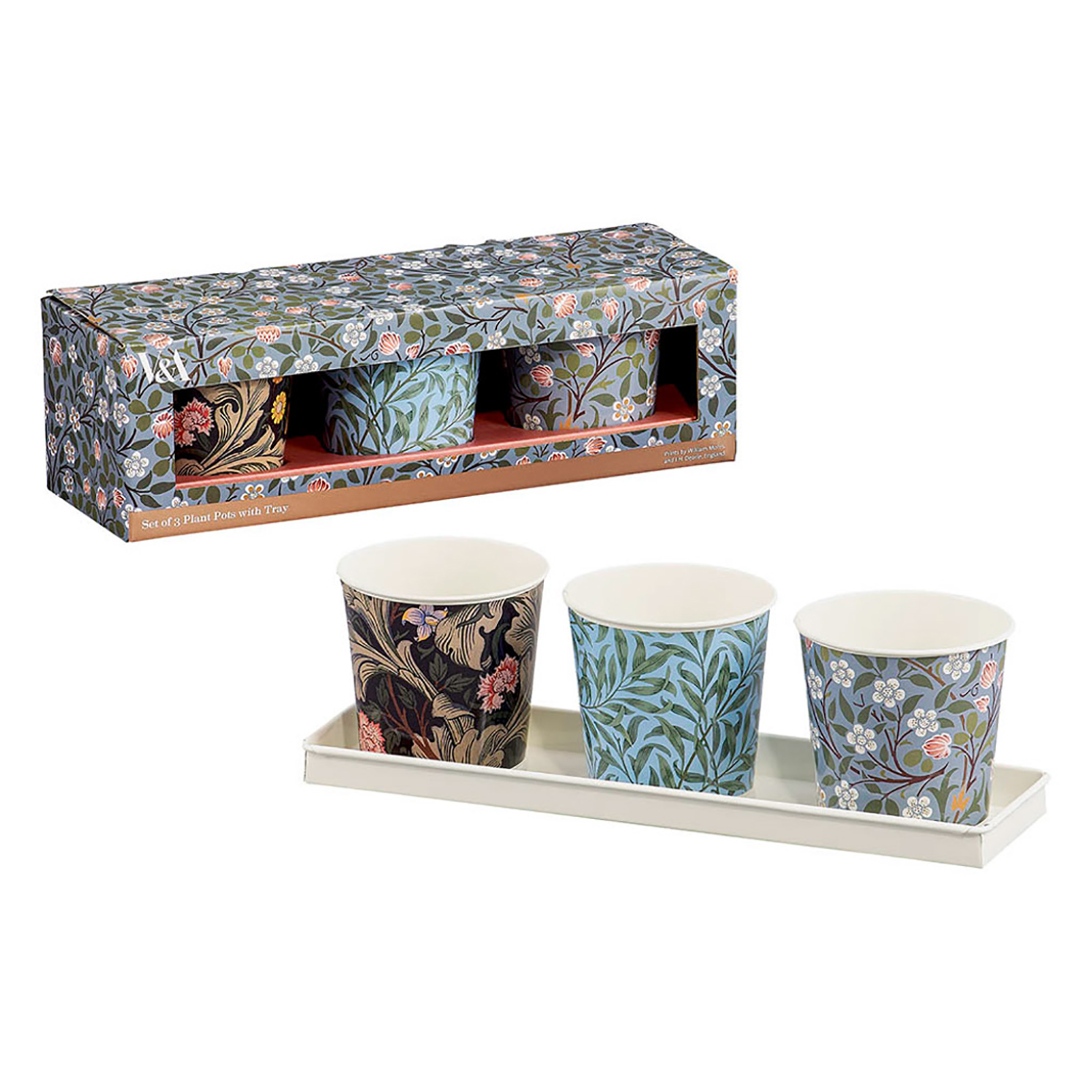 V&A – Set of 3 Plant Pots in Tray in Presentation Gift Box