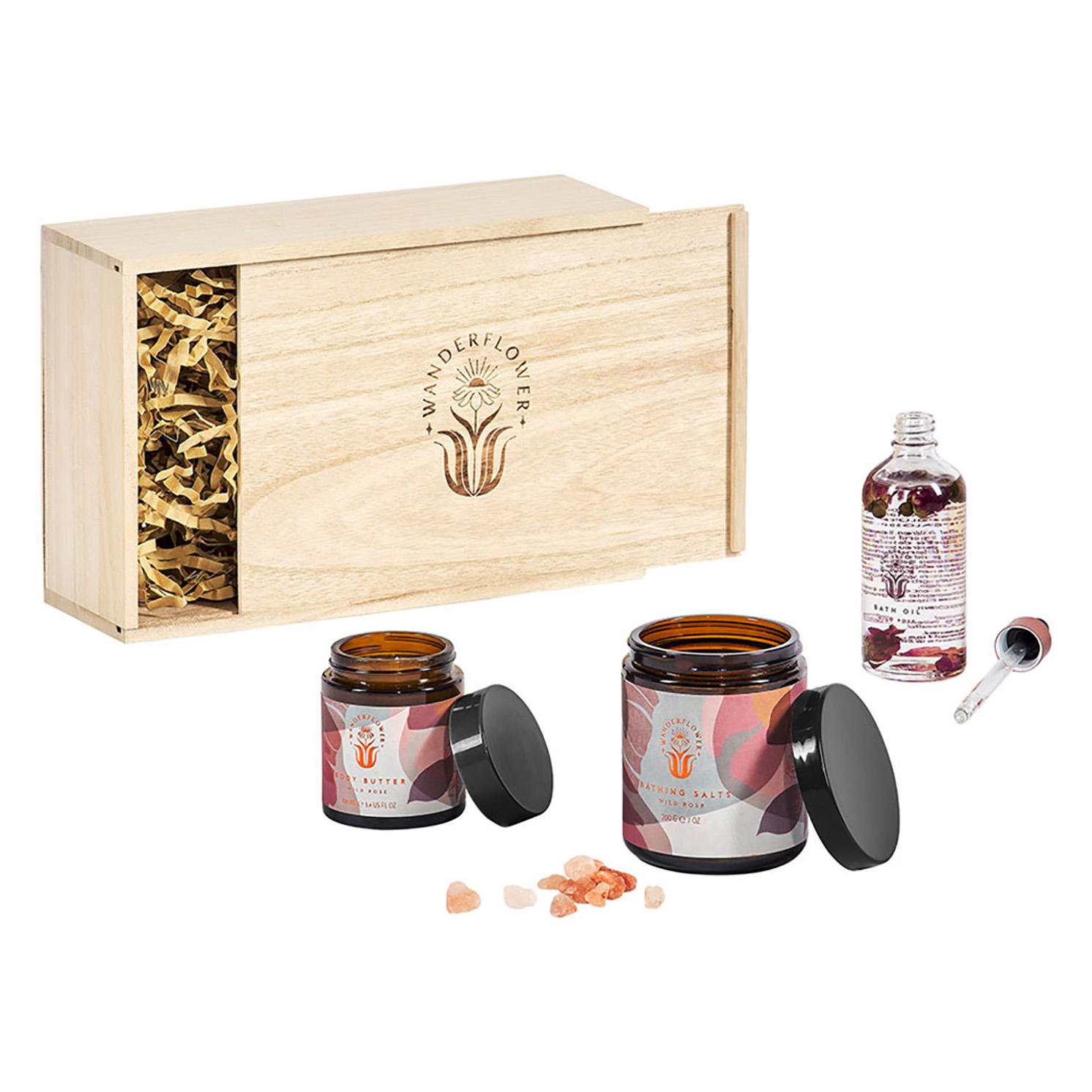 Wanderflower – Wild Rose Time to Unwind Relaxing Set in Wooden Gift Box