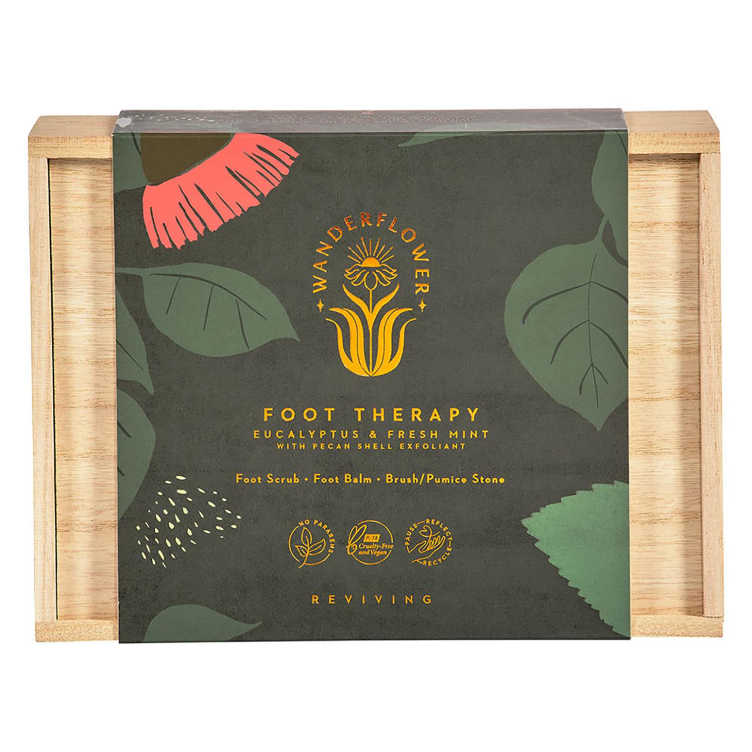 Wanderflower – Eucalyptus & Fresh Mint Foot Therapy Set in Wooden Gift Box