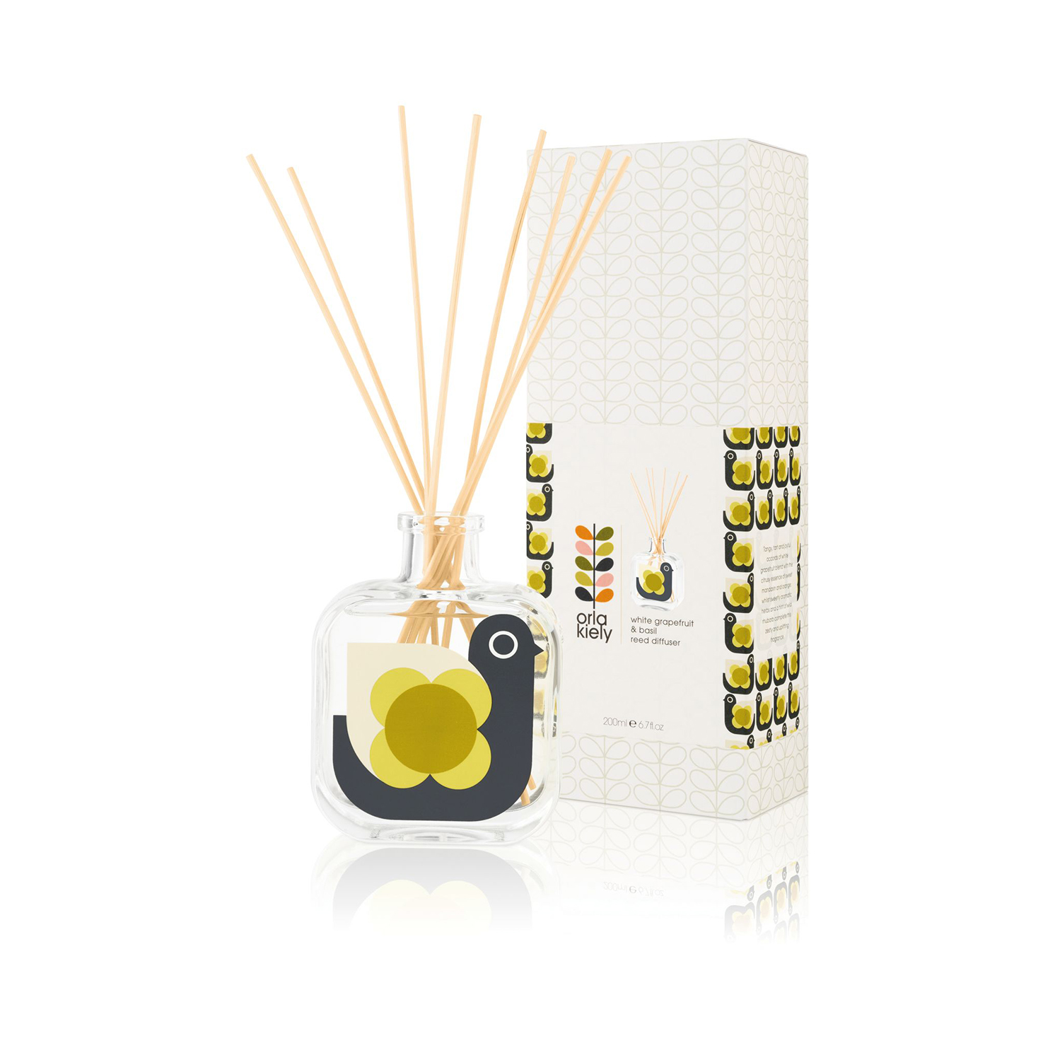 Orla Kiely - White Grapefruit & Basil Hen Moulded Reed Diffuser in Gift Box