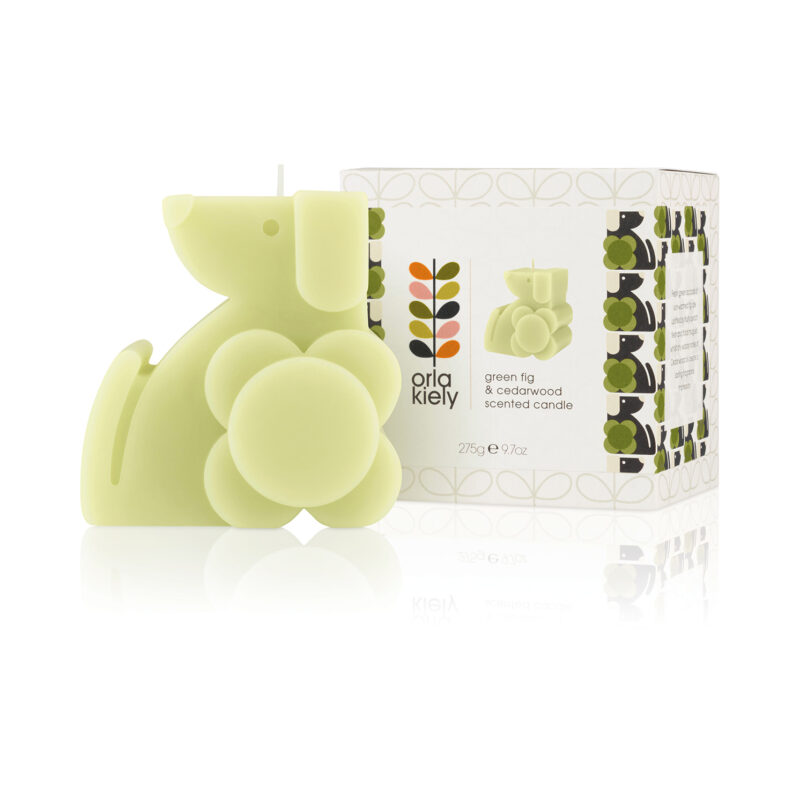 Orla Kiely - Green Fig & Cedarwood Dog Moulded Scented Candle in Presentation Gift Box