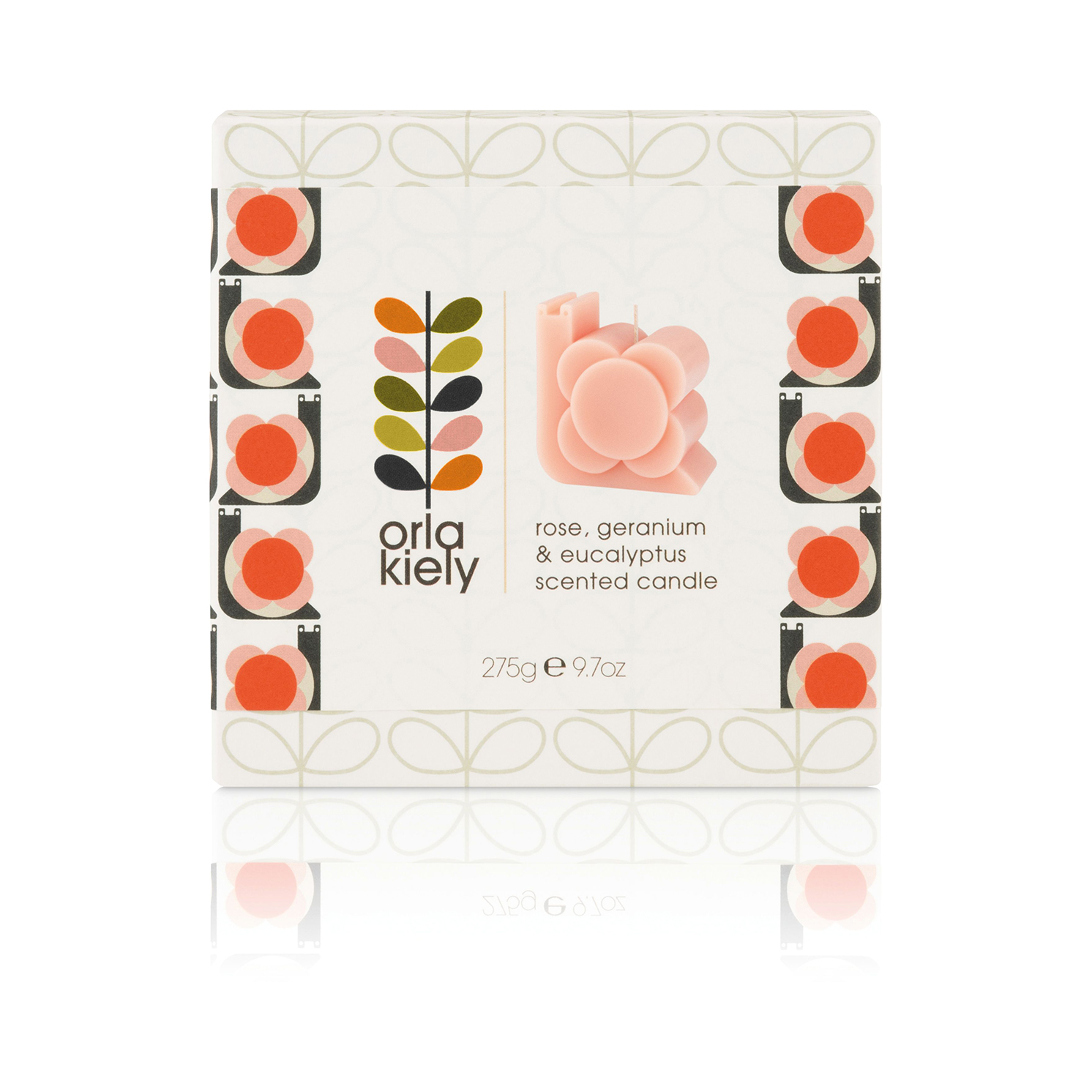 Orla Kiely – Rose, Geranium & Eucalyptus Snail Moulded Candle in Gift Box